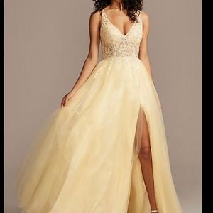 Illusion Bodice Tulle Ball Gown w/ Lace